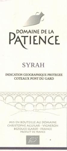 IGP Coteaux du Pont du Gard Syrah rouge  AB